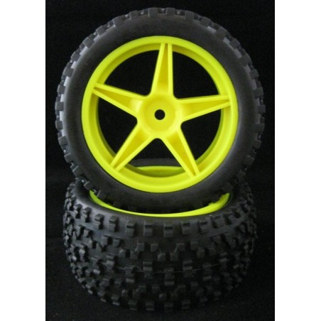 06010 - Front Tires 1/10 Buggy Yellow x2 pcs