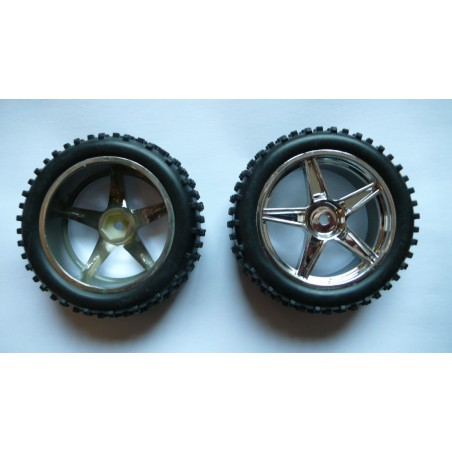 06010 - Front tires 1/10 Buggy Chromed x2 pcs