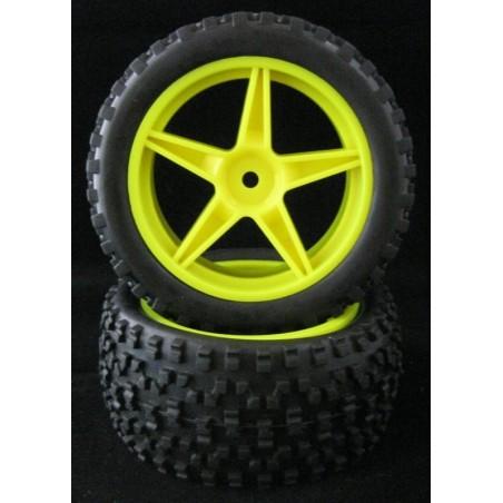 06026 - Rear Tires 1/10 Buggy Yellow x2 pcs