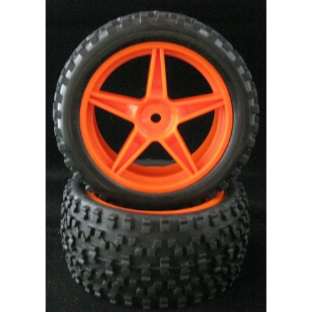 06026 - Rear Tires 1/10 Buggy Orange x2 pcs