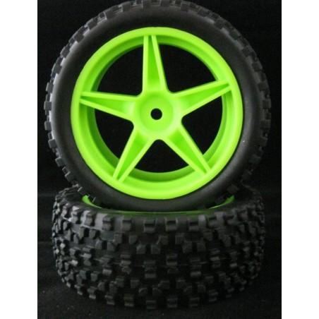 06026 - Rear Tires 1/10 Buggy Green x2 pcs