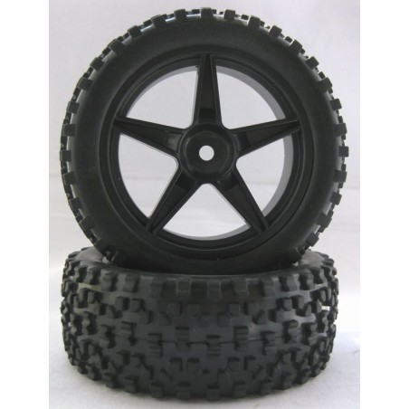 06026N - Rear complete Tire 1/10 Buggy - Black x2 pcs.