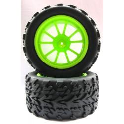8028 - Juego de ruedas VERDES x2 - Monster Truck