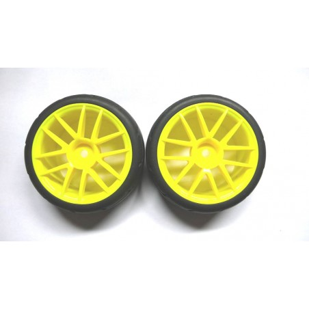 02020 - Complete tire 1/10 Touring - Yellow x2 pcs
