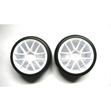 02020 - Complete tire 1/10 Touring - White x2 pcs
