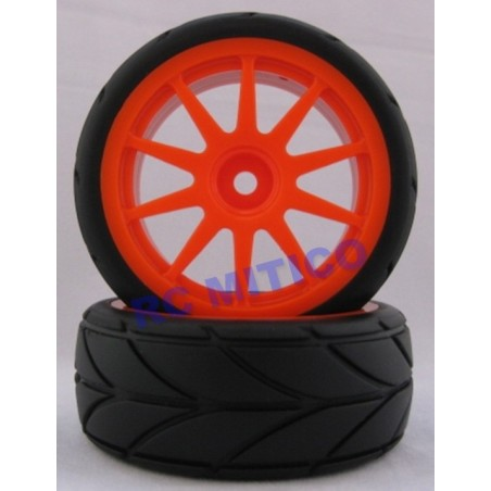 02020 - Complete tire 1/10 Touring - Orange x2 pcs