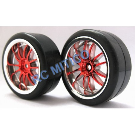 250123 -  SLICK Red Chromed for 1/10 Touring x2 pcs