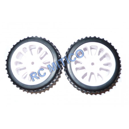 85006 - Front WHITE tire Glued Buggy 1/18 - 1/16 x2 pcs