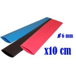 Tubo termoretractil Rojo - Negro - Azul - 10 cm - 6 mm
