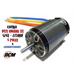 Combo Hobbywing + Motor RCM Unique 6 Polos 4268 - 2250 KV