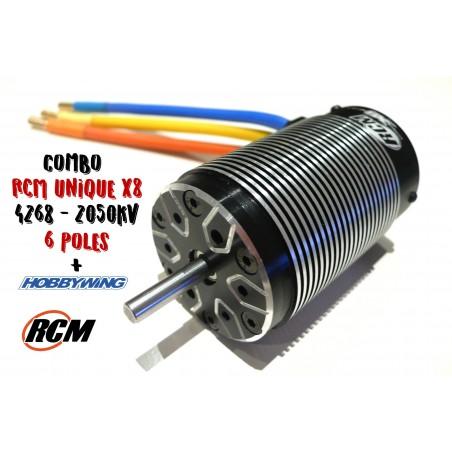 Combo Hobbywing + Motor Brushless RCM UNIQUE X8 6 Polos - 2050 KV