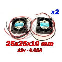 Ventilador 25x25x10 10000 RPM 12v 0.05A x2uds.