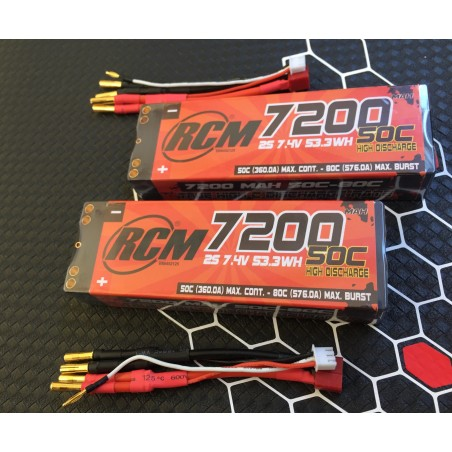 2x COMPETITON LiPo RCM NUCLEAR 7200 mAh 7.4v 50C-80C