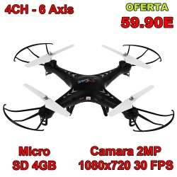 Drone SJRC X300-1C 2.4 Ghz - Camara 2MP 1080x720 px - NEGRO