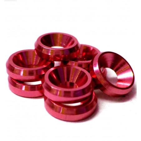 Arandelas conicas de Aluminio M3 - Color ROJO