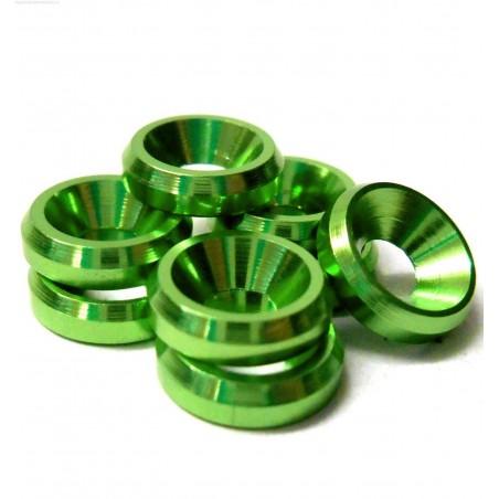 Arandelas conicas de Aluminio M3 - Color VERDE