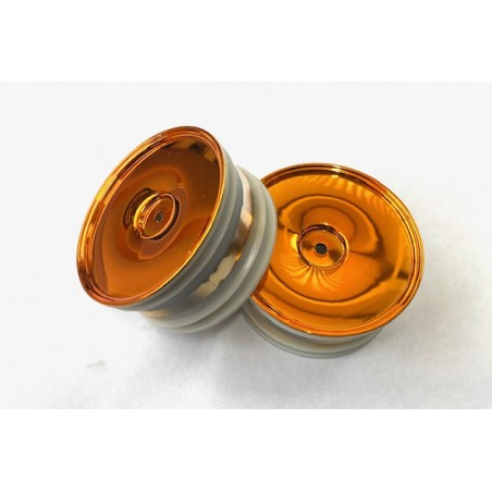 06030PL - Chromed Orange Buggy 1/10 FRONT Wheels x2 pcs