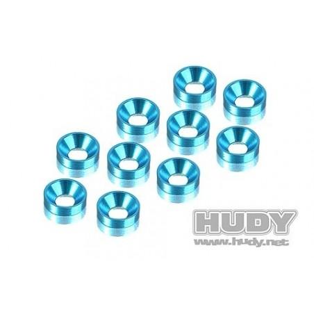 Arandelas M3 conicas aluminio Azul Hudy x10 uds.