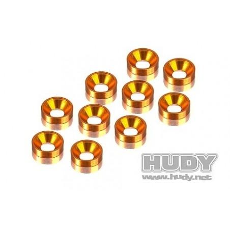 Alloy Countersunk Shim Orange Hudy x10 pcs