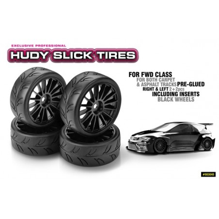 Hudy 1/10 Slick tires Black Wheel x4 pcs