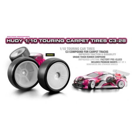 Ruedas Hudy 1/10 Touring Moqueta C3-28 x4 uds.