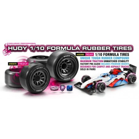Ruedas Delanteras Hudy 1/10 Formula 1 Goma x2 uds.