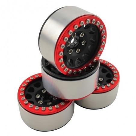 1.9 aluminum beadlock Crawler wheels M105 Black Red x4 pcs