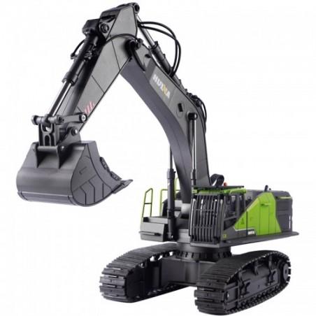 Excavadora RC Huina 1593 1/14 22ch Verde con Pala Metalica