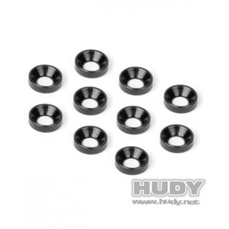 Arandelas M3 conicas aluminio Negra Hudy x10 uds.