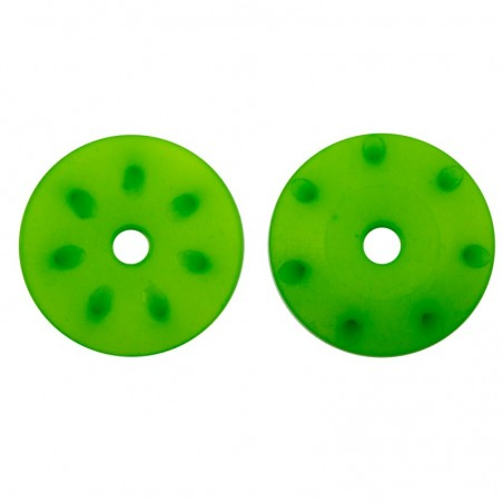 16mm CONICAL SHOCK PISTONS (1.3mm x 7 angled holes) GREEN x2 pcs