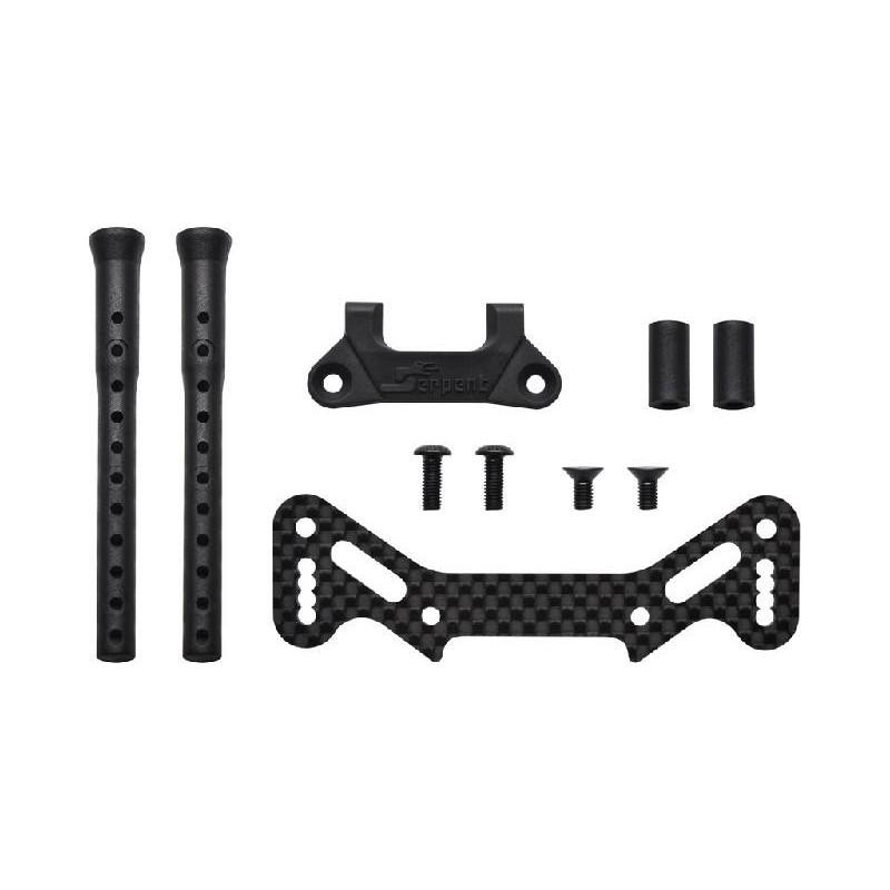 Paragolpes delantero superior Carbono y soportes carroceria Serpent X20 '21