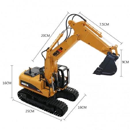 Excavadora Huina 1550 1/14 Pala y Gancho metalicos 15CH