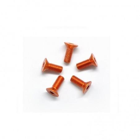 Aluminum allen screw countersunk M3X8mm orange x5 pcs