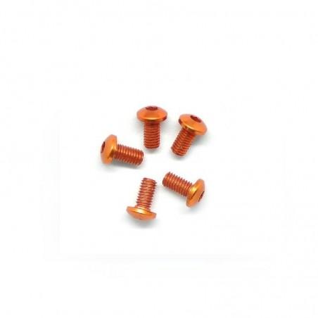 Aluminum allen screw round head M3X6mm orange x5 pcs
