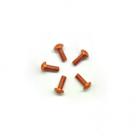 Aluminum allen screw round head M3X8mm orange x5 pcs