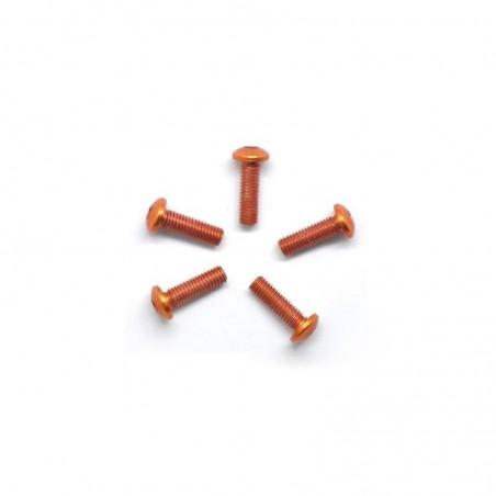 Aluminum allen screw round head M3X10mm orange x5 pcs
