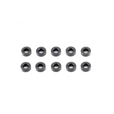 Aluminum washer 3x6x3mm Black x10 pcs